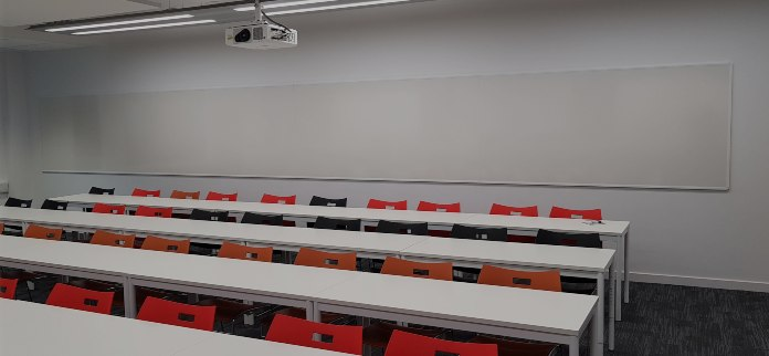 large and continuous whiteboard writing surface
